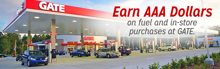 Earn AAA Dollars With Your Gate Fuel Purchase Every Day