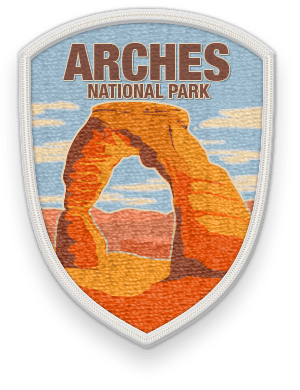Arches National Park 2016 patch with link to trip information and itinerary