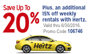 Save up to 20% plus an additional 15% off weekly rates with Hertz