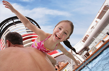 girl in Disney cruise ship pool