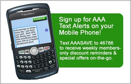 Sign up for AAA Text Alerts on your Mobile Phone!